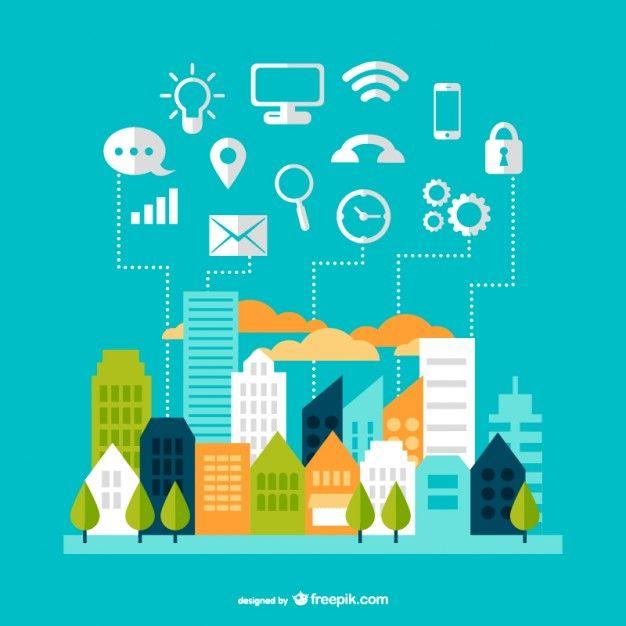 Illustration concept of smart city technologies.   Image courtesy freepik.com