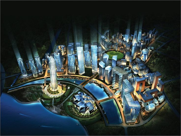 Proposal of the Gujarat International Finance Tec-City (GIFT City), one of the flagship smart cities of the 100 Smart Cities program.   Image courtesy archdaily.
