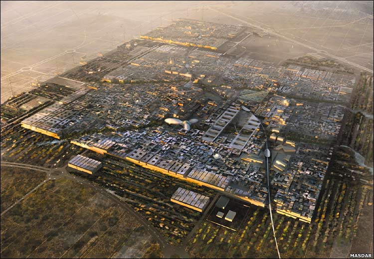 Masdar city is among the more high-profile experiments in smart-city technology.   Image courtesy: Foster + Partners.