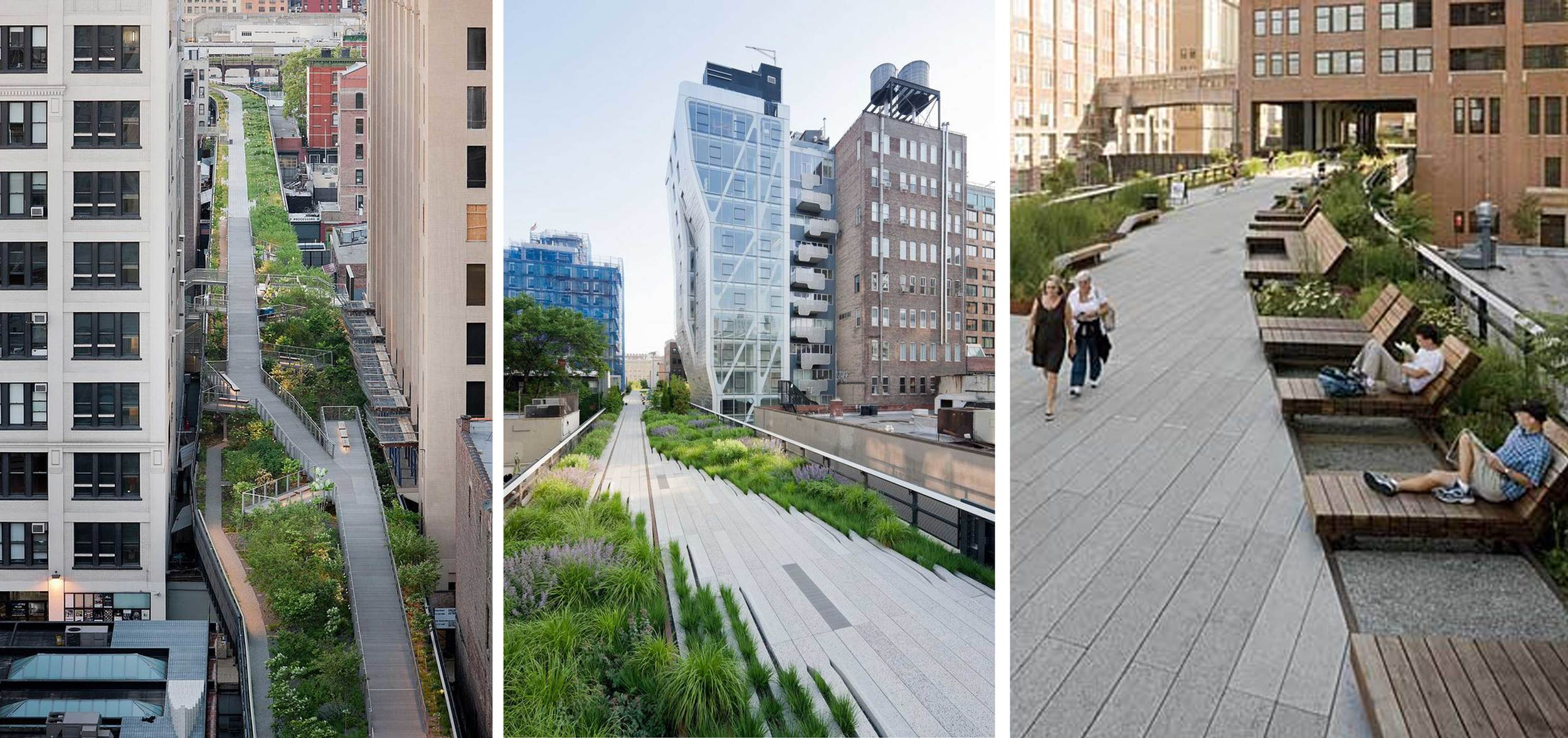 The High Line in New York is a beautifully landscaped elevated park built on top of the tracks of an abandoned railway. Image courtesy: Pinterest