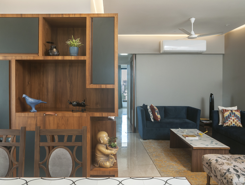 BAR UNIT AND LIVING AREA AS VIEWED FROM THE DINING TABLE