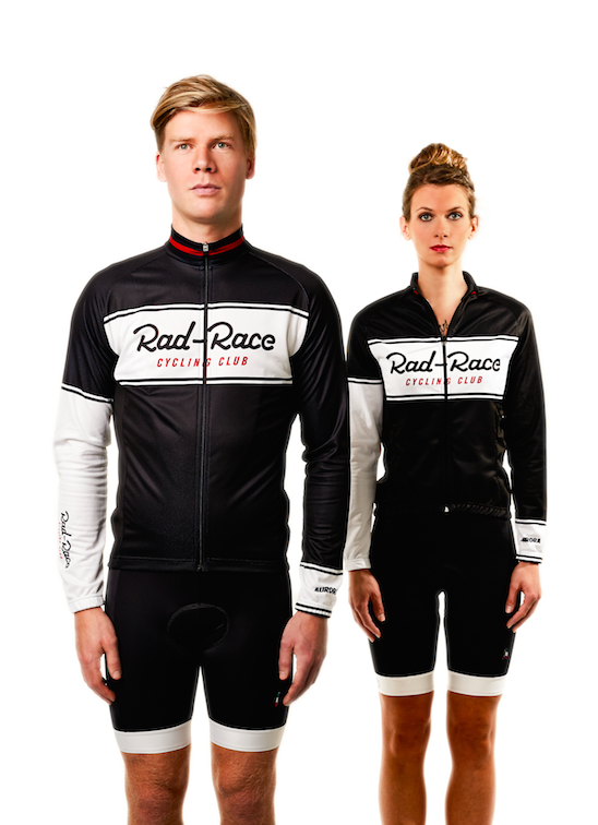 On the left side Flo wears the RAD RACE Cycling Club Jersey & Bib Shorts Bundle. On the left side Bine wears the RAD RACE Cycling Club Jersey & Bib Shorts Bundle, too.