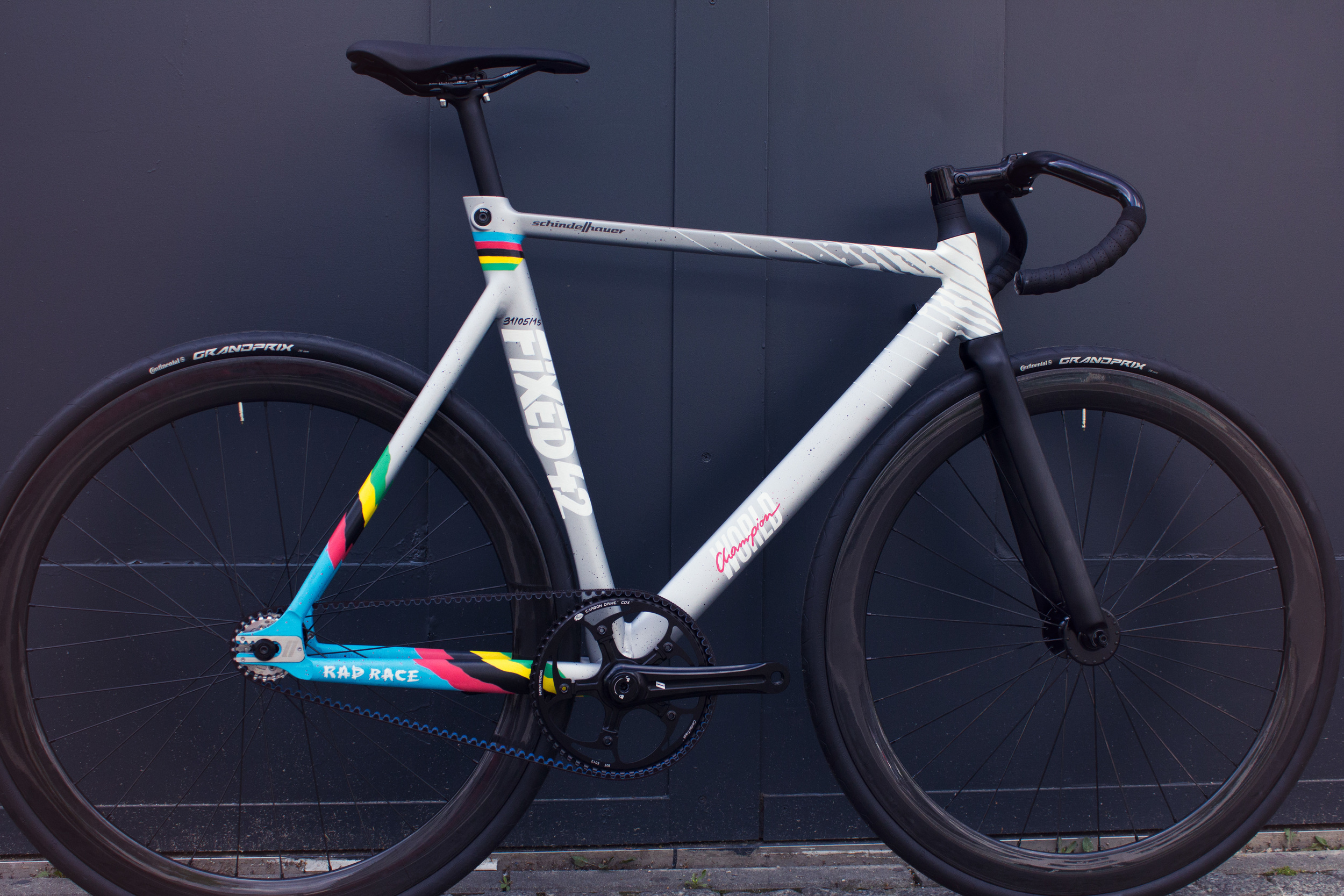 RAD RACE Fixed42 World Championship Frame Man - by Schindelhauer Bikes. Hand painted by Anna T-Iron.