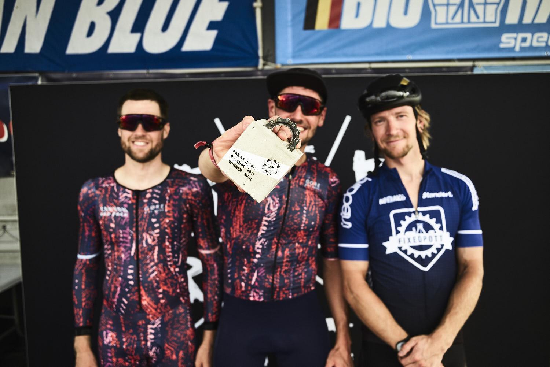 RAD RACE CRIT Podium: Ben Schnabel, Fritz Ferner, Stefan Reimer. By Carlos Fernandez Laser