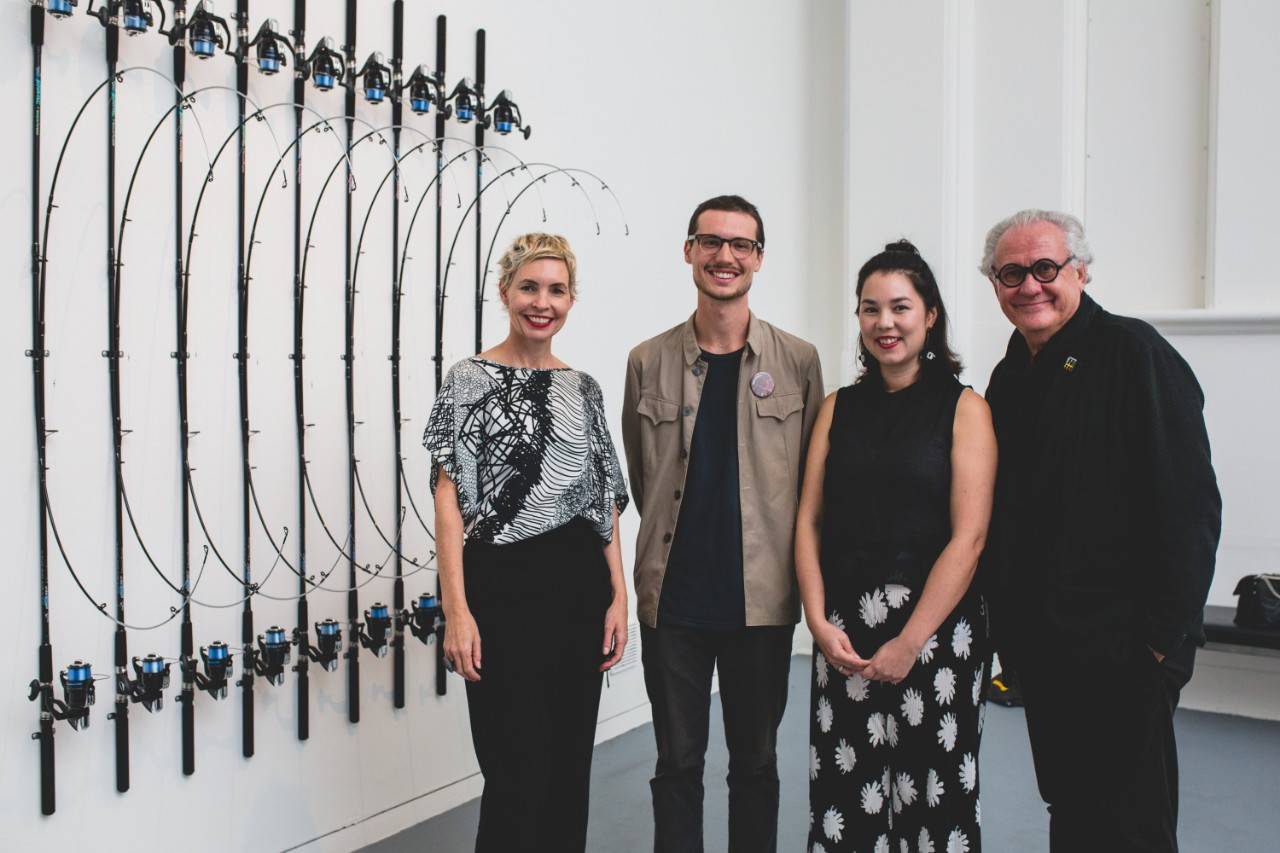 Standing beside my work  In-tension  (2016) at PICA alongside Fellowship judges: (L-R) Amy Barrett-Lennard, Mikala Tai and Professor Ted Snell. Photo courtesy of OK Media Group.