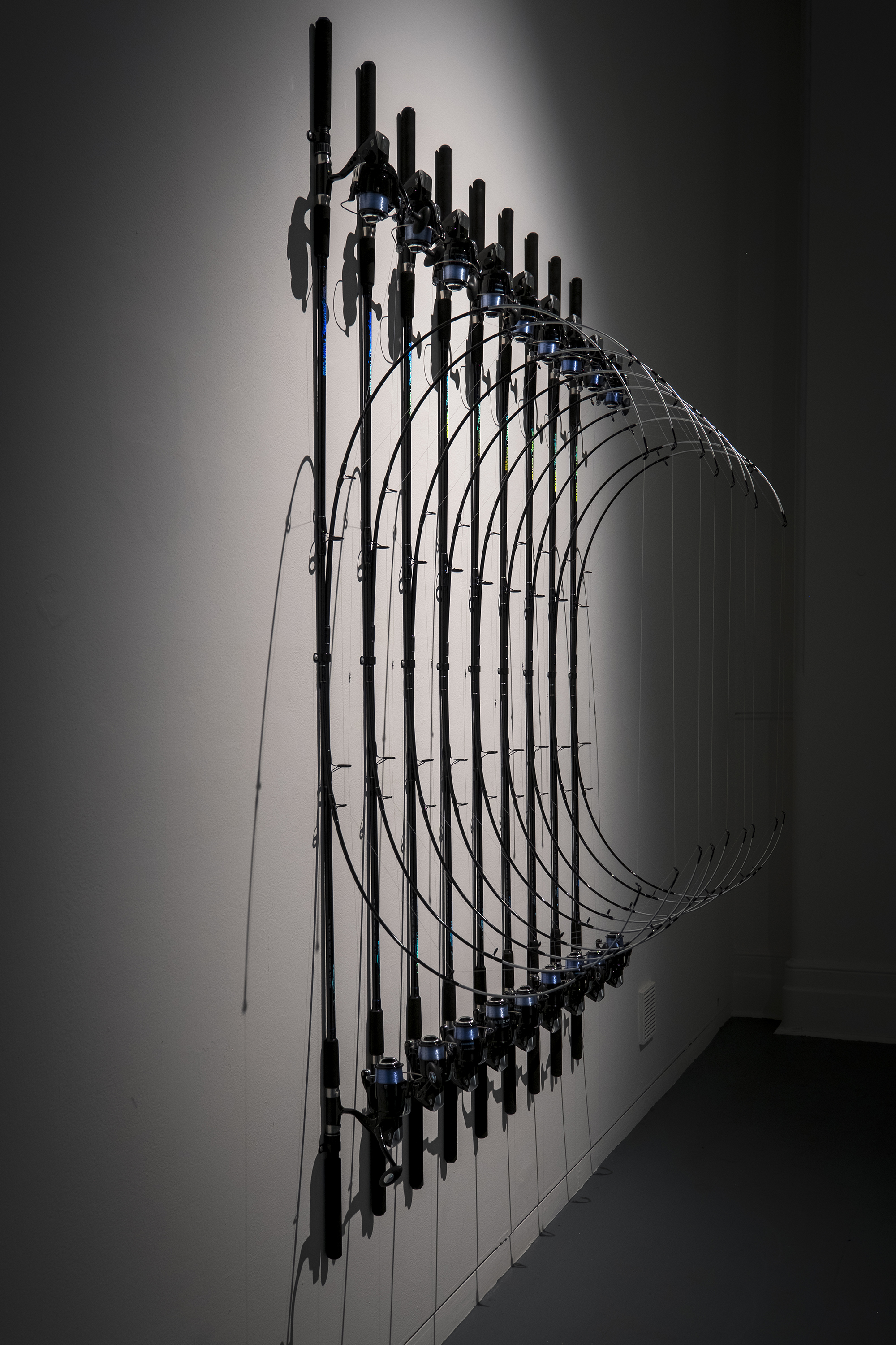 In-tension , 2016, fishing rods and line, 210 x 160 x 80 cm. Exhibited at Hatched: National Graduate Show 2017, Perth Institute of Contemporary Arts.Image: Alessandro Bianchetti.