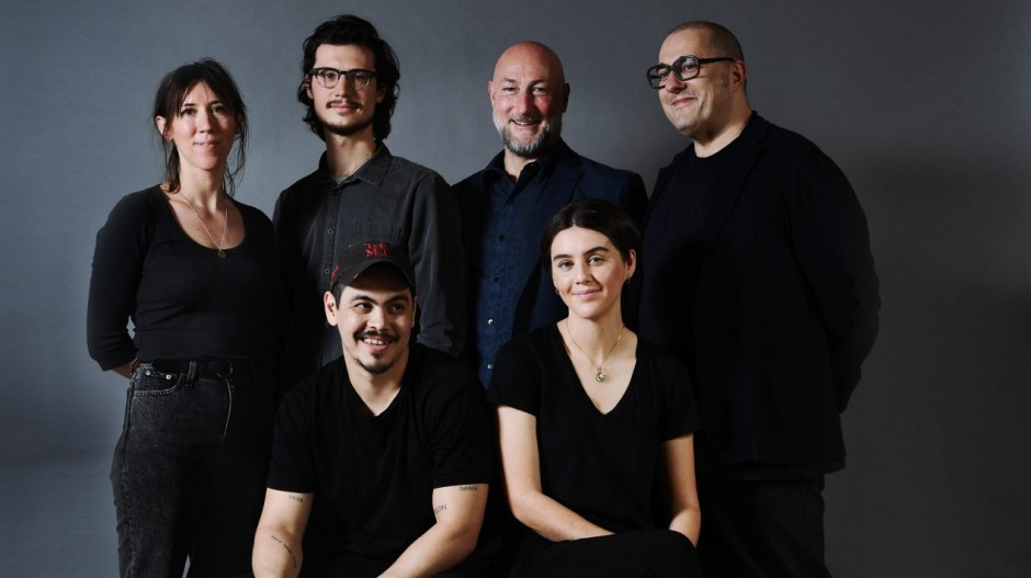 Exhibiting artists Abdul Abdullah and India Mark (front row) and Clara Adolphs, Kai Wasikowski and Tomislav Nikolic (back row) with Sydney Contemporary director Barry Keldoulis (back row, third right).Photography: Peter Braig