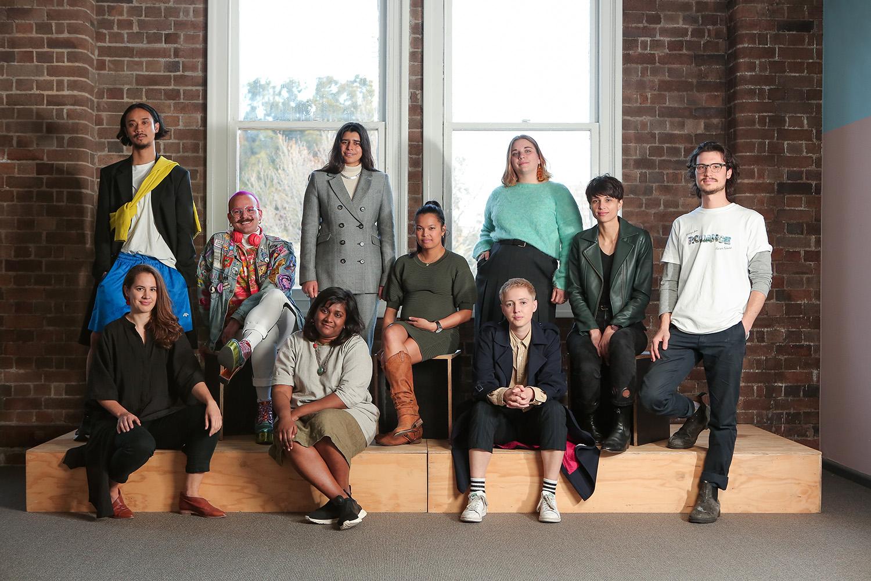 Image, from left: 2018 NSW Visual Arts Emerging Fellowship finalists, (top) JD Reforma, Kieran Butler, Shireen Taweel, Marikit Santiago, Jodie Whalen, Biljana Jancic, Kai Wasikowski, (front) Georgia Saxelby, Shivanjani Lal, EO Gill. Photography: Maja Baska.