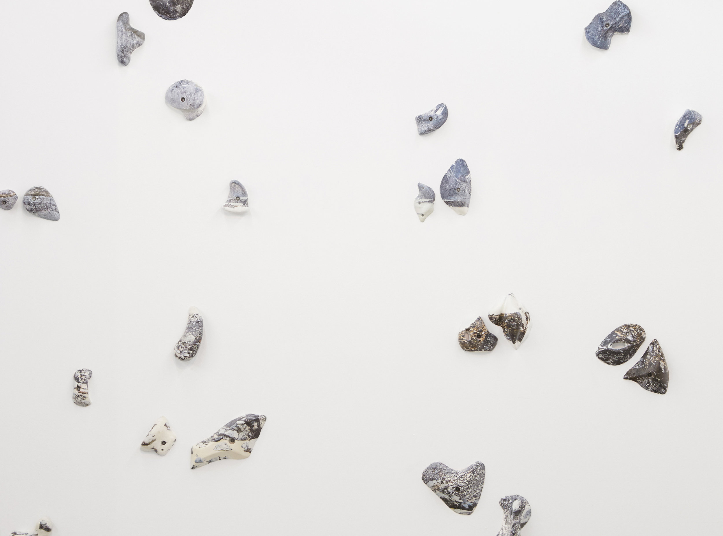 Kai Wasikowski, 'Climb, grip, hold' (detail), 2018, hydrographic print on rock climbing holds, dimensions variable. Installation view  2018 NSW Visual Arts Emerging Fellowship , Artspace, Sydney. Image credit: Zan Wimberley.