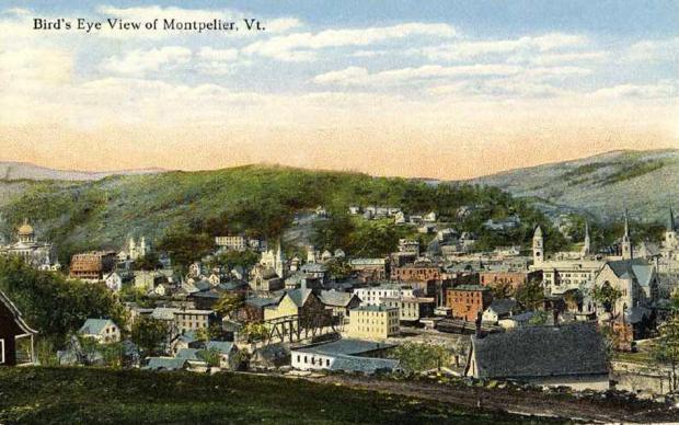 Bird's eye vintage view, Montpelier, Vermont