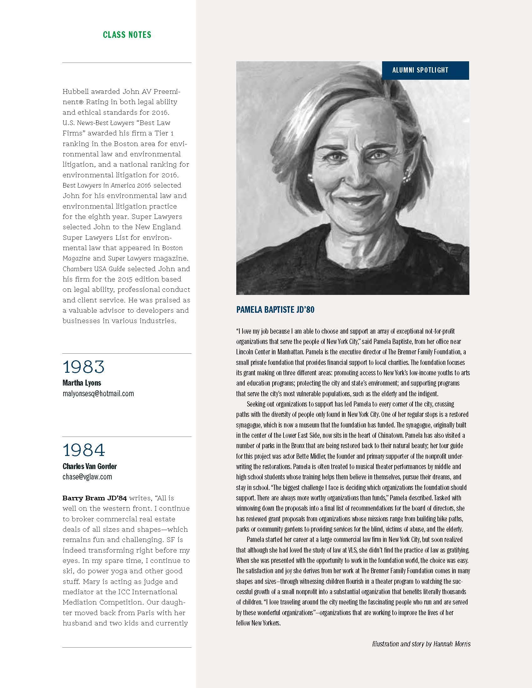 Portrait Illustration / Vermont Law School Alumni Magazine LOQUITUR