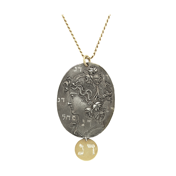 "Sterling silver casted cameo on sterling silver chain lightly plated in 24K gold engraved with astrological sign ""Scorpio"" and ""Conquering Addictions"""