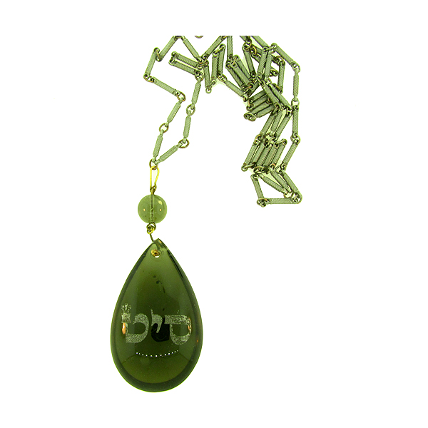 "Vintage teardrop crystal on vintage chain, ""Create Miracles"""