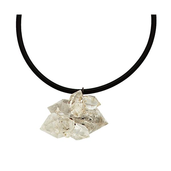 "Rock crystal quartz on rubber choker, engraving on bottom facet ""Gemini"""