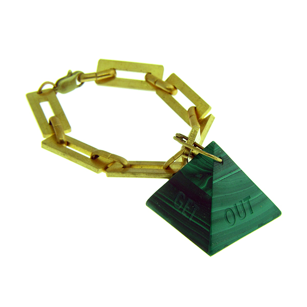 "Malachite pyramid engraved around all sides ""Get Out of Egypt"" on vintage brass chain bracelet"