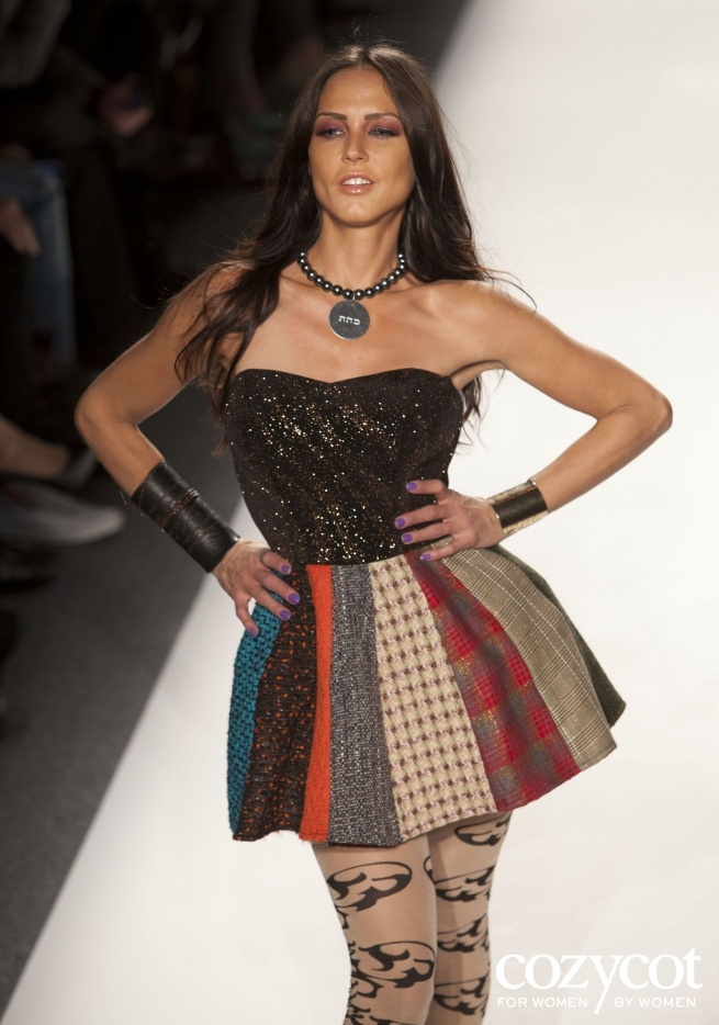 February 9, 2012: Mercedes Benz fashion week, leather 72 names of God wrap cufff and Dissolve Negativity grey pearl necklace