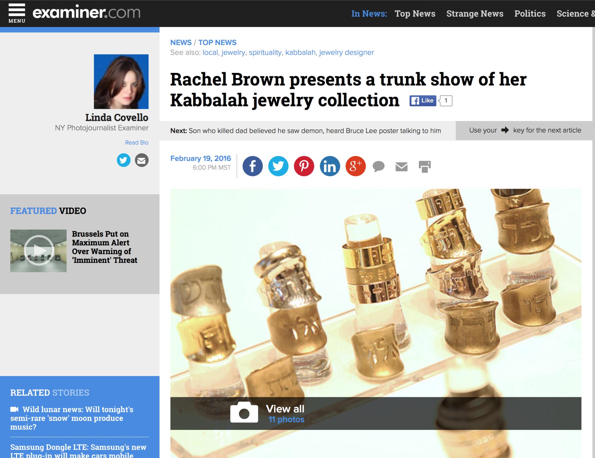 Examiner Article on Rachel Brown