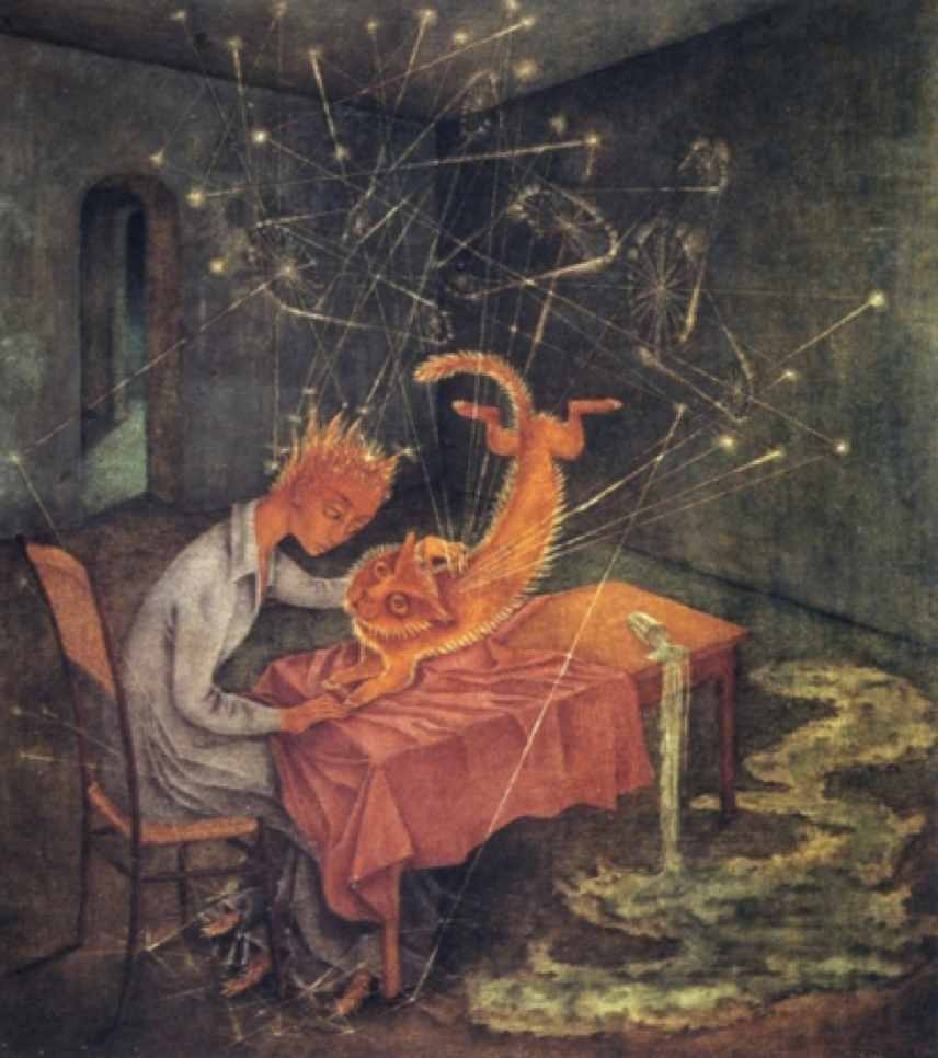 """Fig. 10: Remedios Varo,  Sympathy (Sympatía) , [Originally titled,  The Madness of the Cat – La Rabia del gato ], 1955                                Normal    0                false    false    false       EN-US    JA    X-NONE                                                                                                                                                                                                                                                                                                                                                                                                                                                                                                                                                           /* Style Definitions */ table.MsoNormalTable {mso-style-name:""""Table Normal""""; mso-tstyle-rowband-size:0; mso-tstyle-colband-size:0; mso-style-noshow:yes; mso-style-priority:99; mso-style-parent:""""""""; mso-padding-alt:0in 5.4pt 0in 5.4pt; mso-para-margin:0in; mso-para-margin-bottom:.0001pt; mso-pagination:widow-orphan; font-size:12.0pt; font-family:Cambria; mso-ascii-font-family:Cambria; mso-ascii-theme-font:minor-latin; mso-hansi-font-family:Cambria; mso-hansi-theme-font:minor-latin;}"""