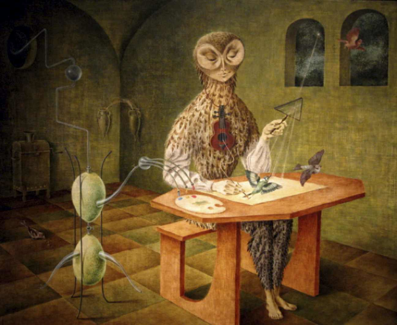 """Fig. 11: Remedios Varo,  The Creation of the Birds (La Creación de los pájaros),  1957                                Normal    0                false    false    false       EN-US    JA    X-NONE                                                                                                                                                                                                                                                                                                                                                                                                                                                                                                                                                           /* Style Definitions */ table.MsoNormalTable {mso-style-name:""""Table Normal""""; mso-tstyle-rowband-size:0; mso-tstyle-colband-size:0; mso-style-noshow:yes; mso-style-priority:99; mso-style-parent:""""""""; mso-padding-alt:0in 5.4pt 0in 5.4pt; mso-para-margin:0in; mso-para-margin-bottom:.0001pt; mso-pagination:widow-orphan; font-size:12.0pt; font-family:Cambria; mso-ascii-font-family:Cambria; mso-ascii-theme-font:minor-latin; mso-hansi-font-family:Cambria; mso-hansi-theme-font:minor-latin;}"""