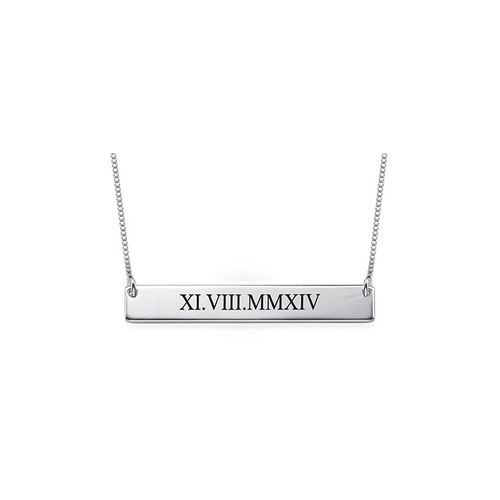 Roman Numeral Bar Necklace by The M Jewelers Ny