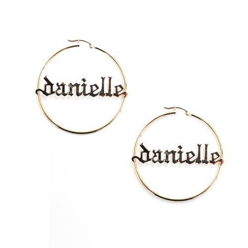 The Gothic Nameplate Hoops by The M Jewelers Ny