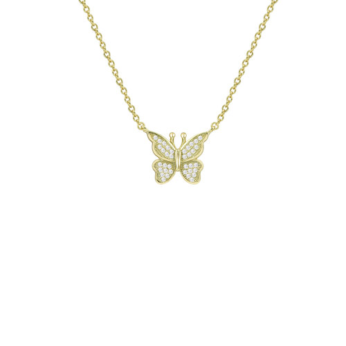 The Pave' Butterfly Pendant Necklace by The M Jewelers Ny