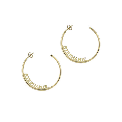 The Open Block Name Hoops by The M Jewelers Ny