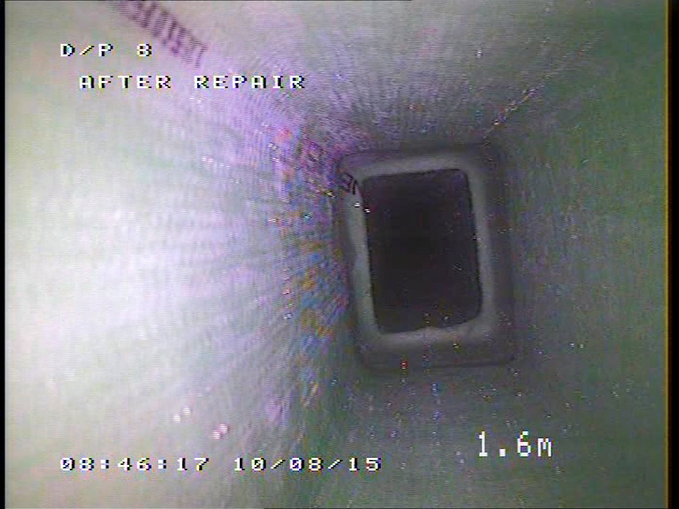 CCTV survey of the lined downpipes