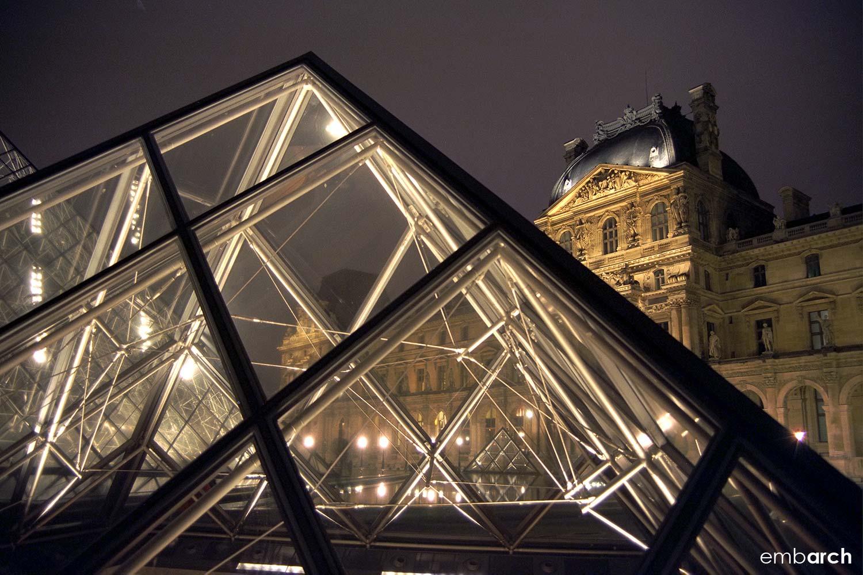 Louvre - exterior pyramid detail at night