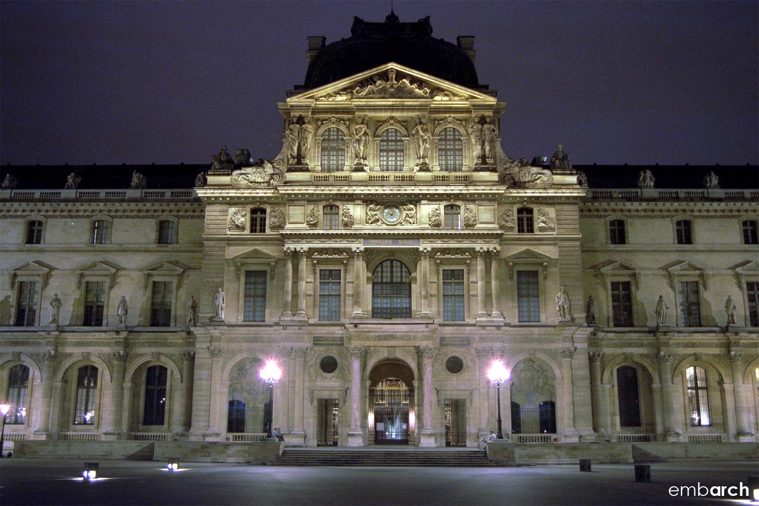 Louvre - exterior courtyard detail at night