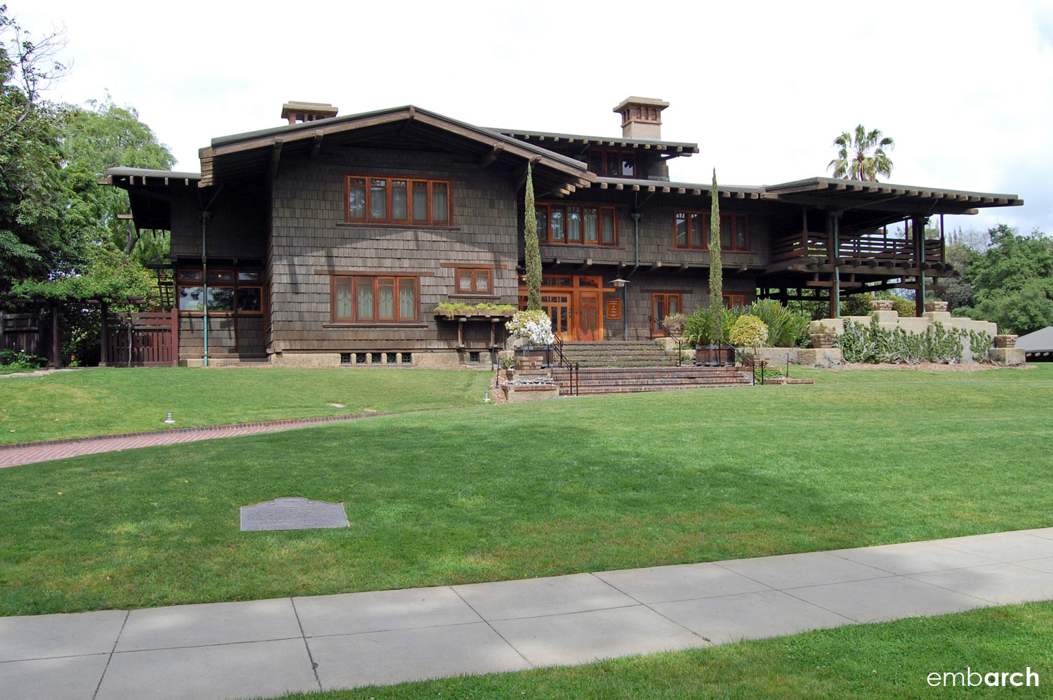 Gamble House - exterior view at front of house