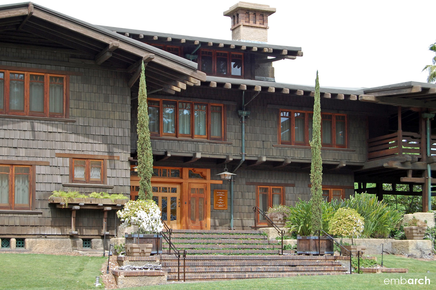 Gamble House - exterior view at front entry