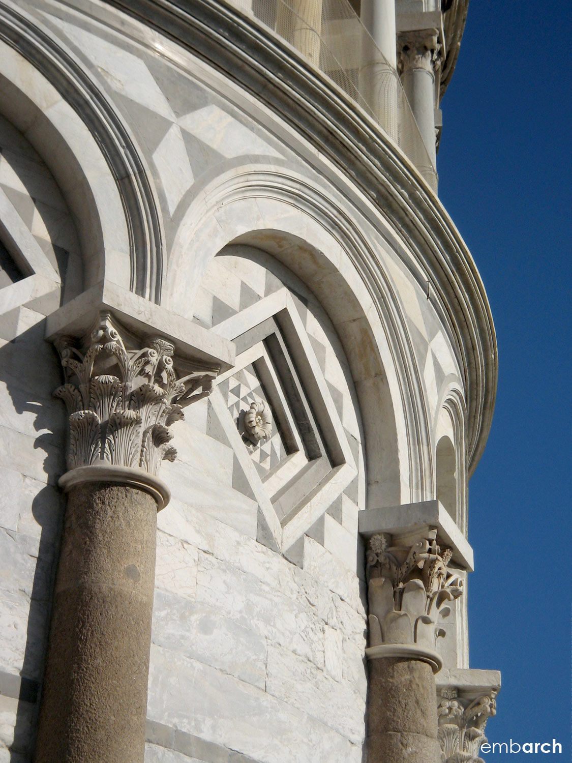 Piazza del Duomo, Pisa Italy - bell tower (the Leaning Tower of Pisa) exterior detail