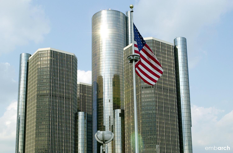 GM Renaissance Center - view of exterior