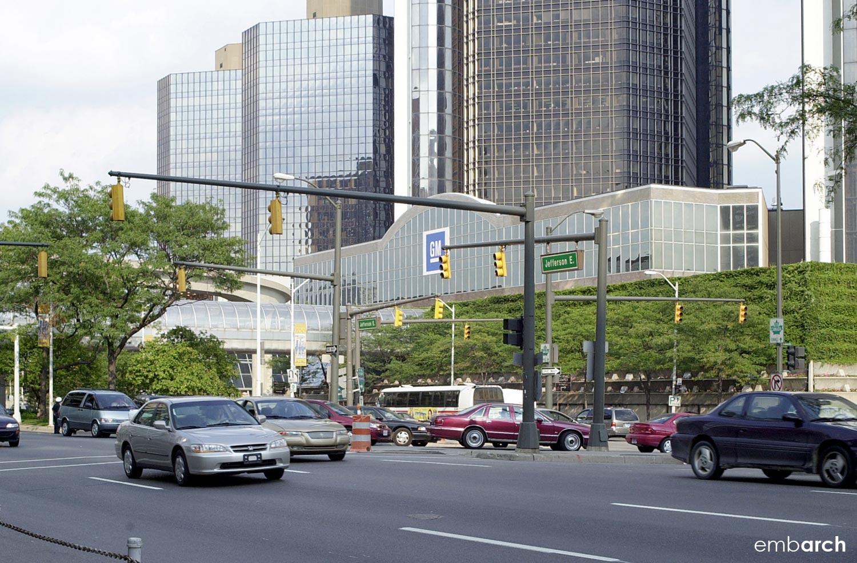 GM Renaissance Center - exterior view from street