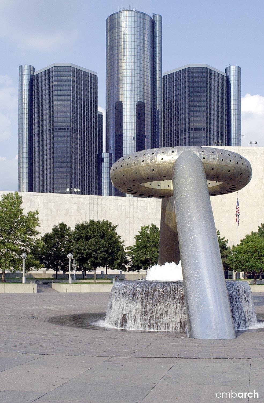 GM Renaissance Center - fountain