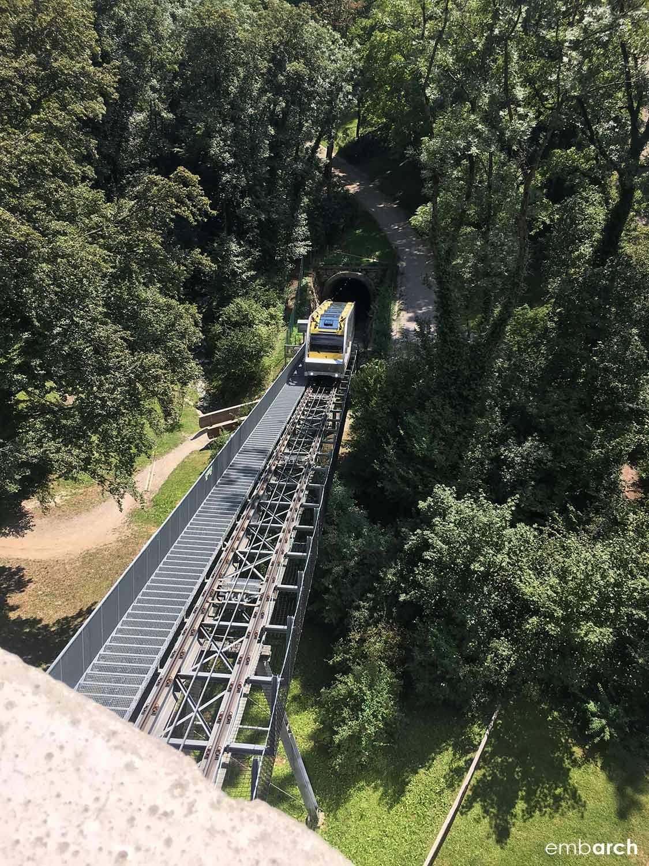 Funicular train approaching Alpenzoo Station