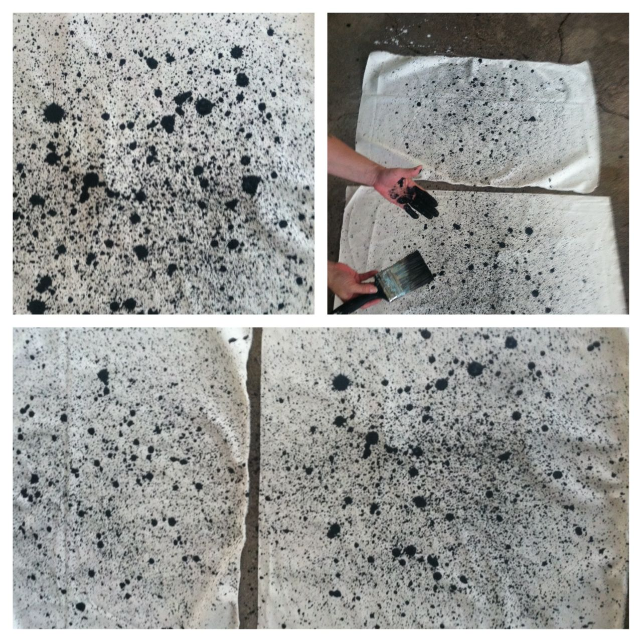 splatter painting canvas for totes and aprons