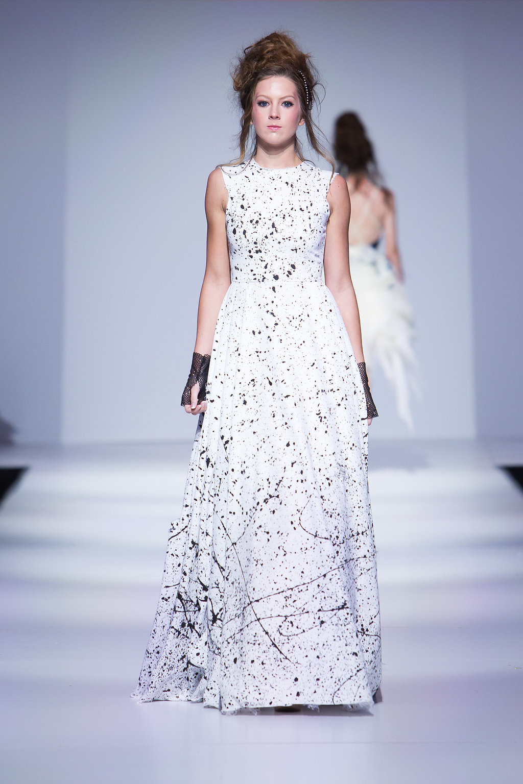 Hand splattered white gown