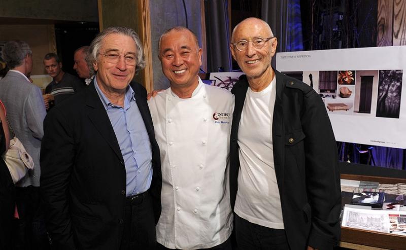 El actor Robert De Niro, el chef Nobu Matsuhisa, el productor de cine Meir Teper.