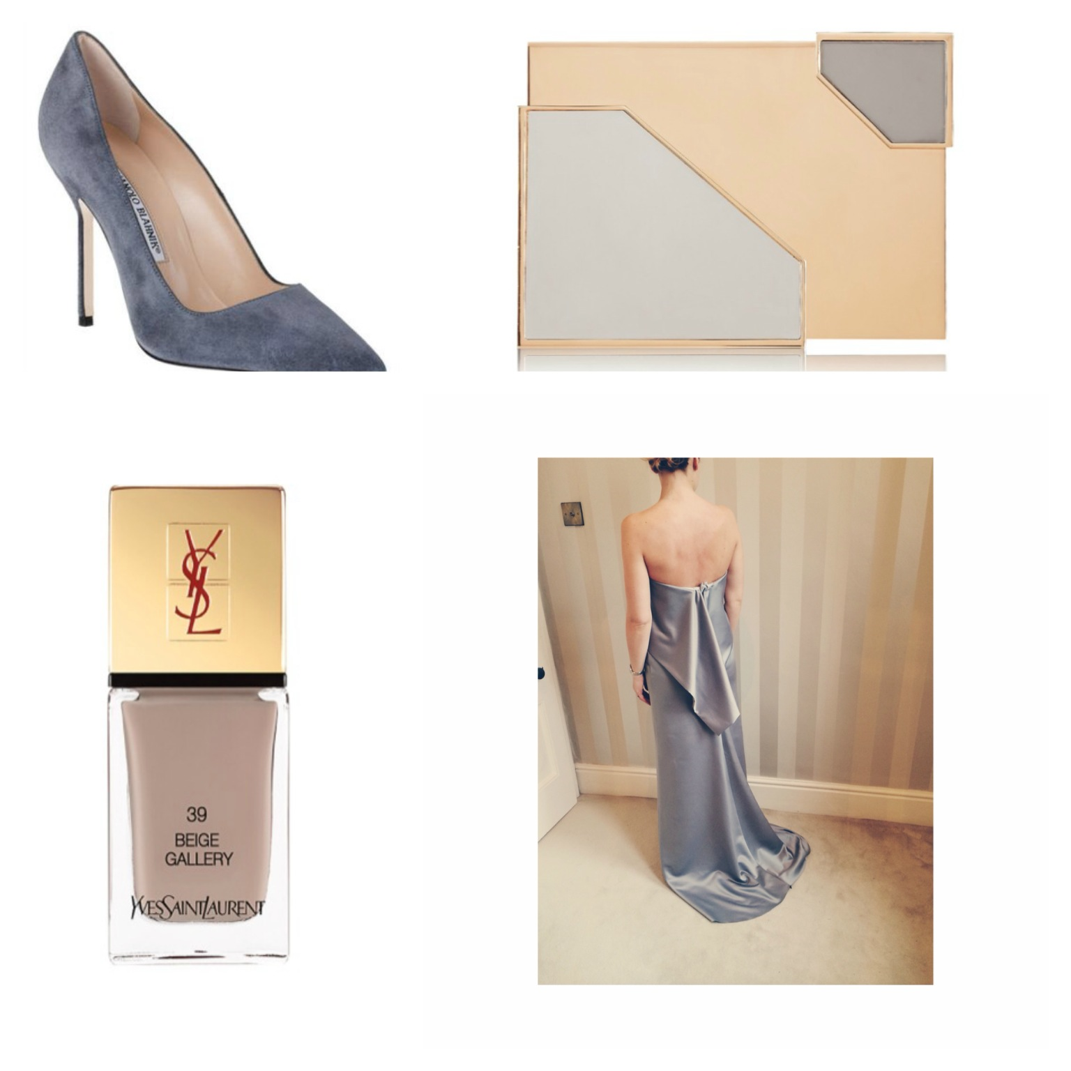 The perfect styling companions- YSL nail polish, Manolo Blahnik suede pumps, Lee Savage box clutch @ Net-a-porter