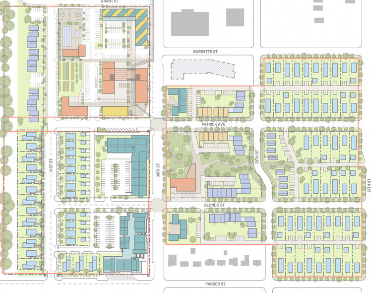 "Proposed site plan for ""Highlander"" development in North Omaha. (Omaha NE)"