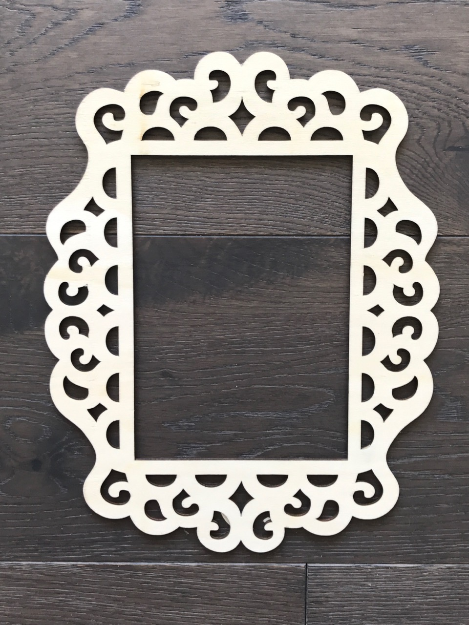 $4 - 4.5 inches by 6.75 inches middle insert - 2 available I love using these ones to frame around a letter, or an object. Price includes being painted or stained a colour to match your decor