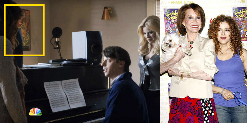 L: Production still from NBC's Smash showing the poster below on set. R: Mary Tyler Moore and Bernadette Peters hosting Broadway Barks.