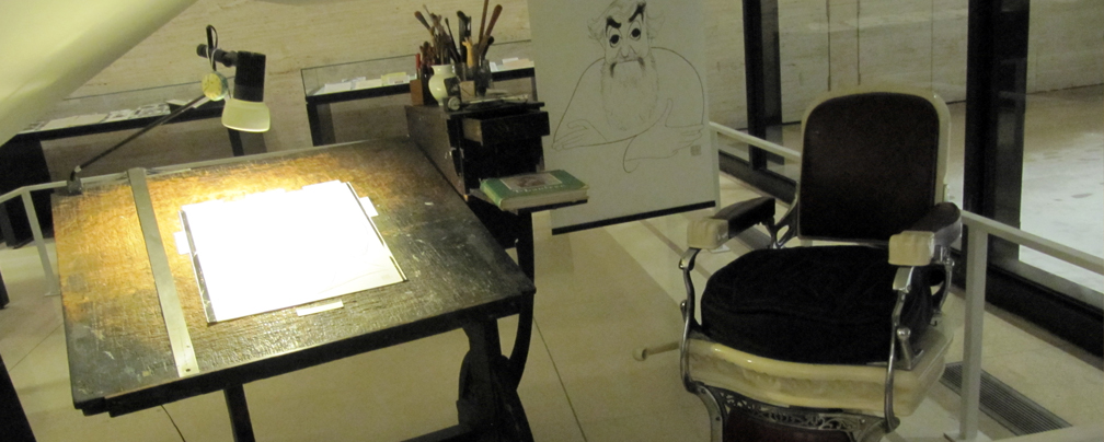 Al Hirschfeld's desk and chair, on display in the library lobby.