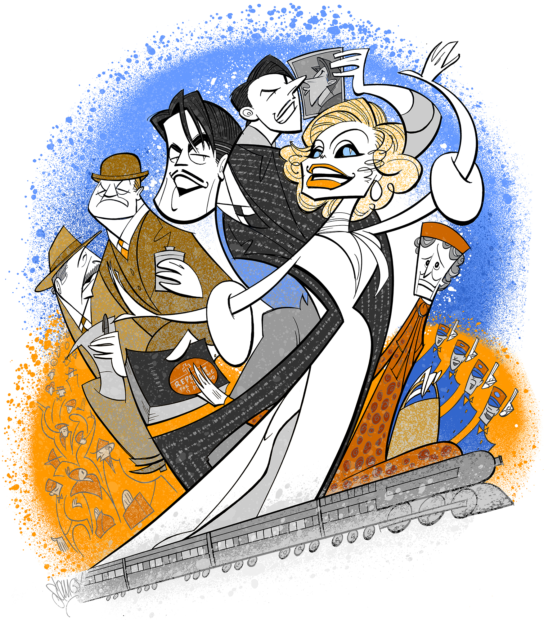 My  Broadway Ink  illustration of the 2015 Broadway revival of   On the 20th Century  .