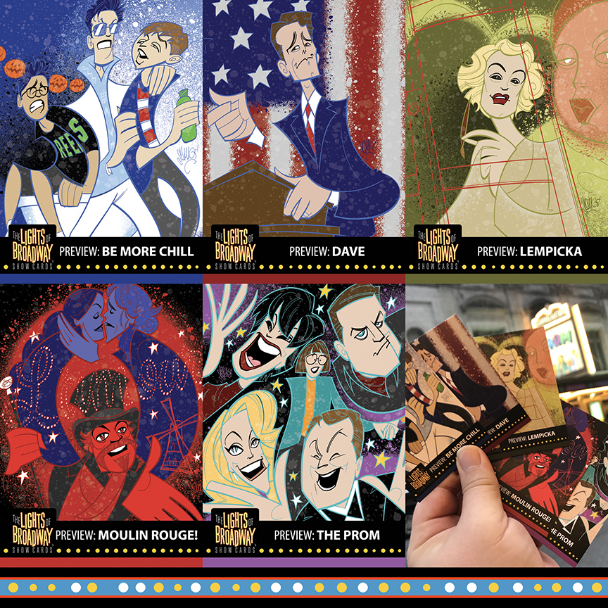 The Lights of Broadway's BC/EFA Flea Market release: Preview cards featuring   Be More Chill, Dave, Lempicka, Moulin Rouge!, and The Prom.