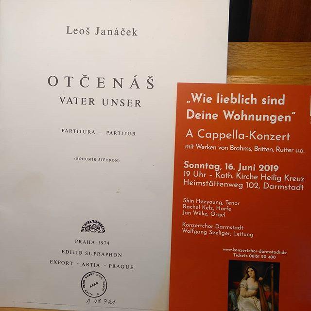 Heute mal wieder Konzert mit dem Konzertchor Darmstadt - unter anderem mit diesem tollen Stück!  #orgel #konzertchordarmstadt #wolfgangseeliger #janáček #otčenáš #darmstadt