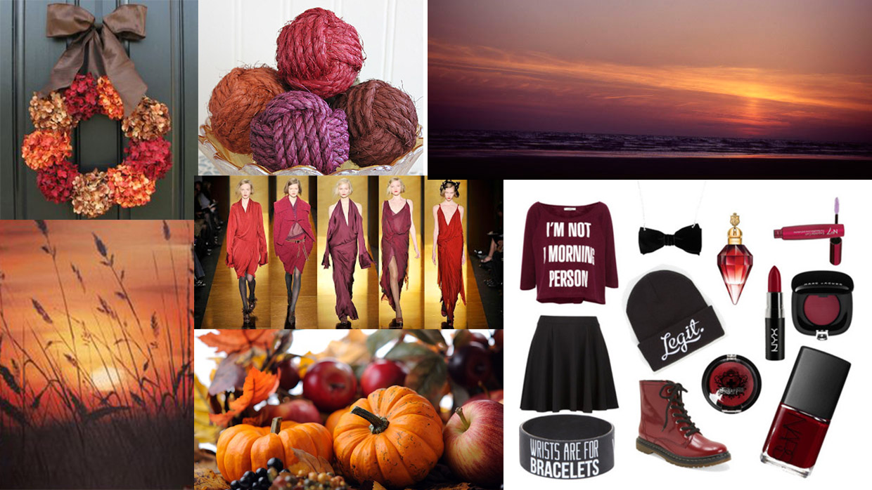 Color References: Burgundy colors in warm dense tone withfaint light