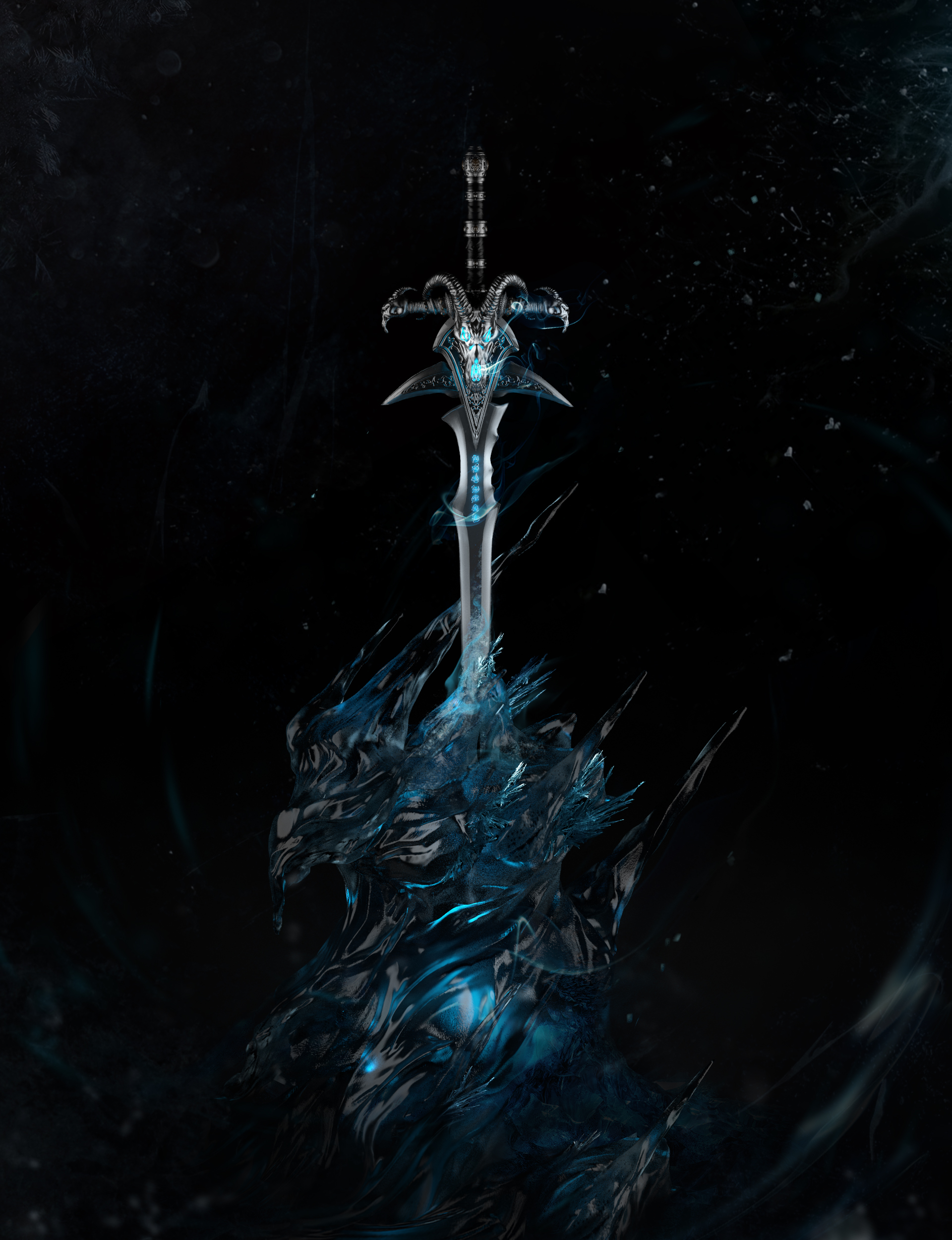 The final composition of Frostmourne with ice stand